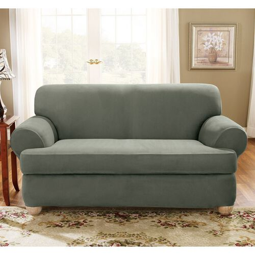 Sure Fit Stretch Suede Sofa 2 Piece T Cushion Slipcover