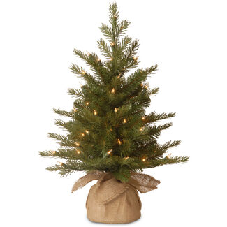 """Feel Real"" Nordic Spruce Small Tree in Burlap with Lights"