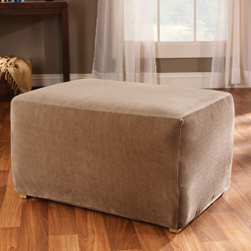 Stretch Stripe Ottoman Cover with Hem