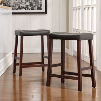 Coleman Rubberwood Padded Top Counter Height Bar Stools - Set of 2