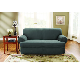 Sure Fit Stretch Suede Loveseat 2 Piece T-Cushion Slipcover