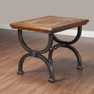 Milford End Table with Natural Slate Tiles