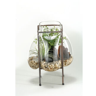 Artificial Maiden Hair Fern and Easter Grass in Glass Bubble Vase