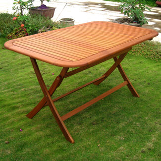 "Royal Tahiti Rectangular Outdoor Folding Table - 60"" x 34"""