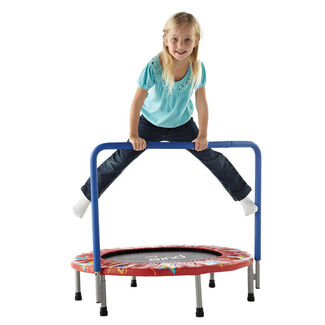 "Pure Fun Kids 36"" Mini Trampoline with No-Spring Bounce System and Padded Handrail"