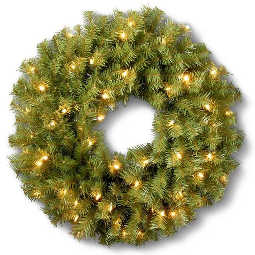Pre-lit Outdoor Christmas Decorations-Norwood Fir Wreath