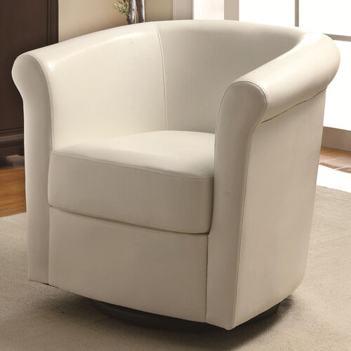Faux-Leather Swivel Barrel-Back Accent Chair