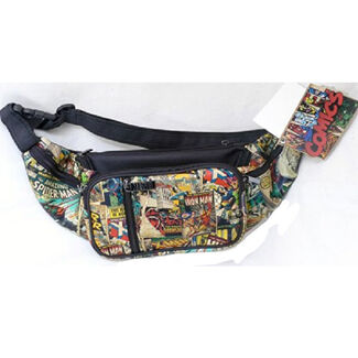 Marvel Comics Retro Polyester and PU Fanny Pack with 5 Pockets and Adjustable Waist Strap