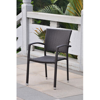 Barcelona Resin Wicker Square-Back Dining Chair