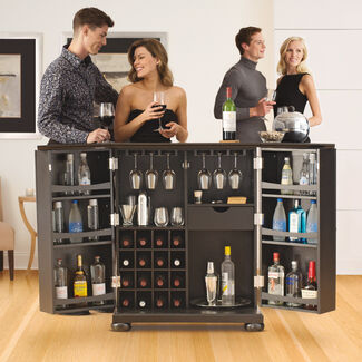Alexandria Expandable Home Bar Liquor Cabinet