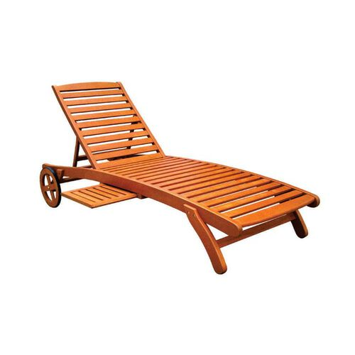 Royal Tahiti Outdoor Furniture: 5-Position Chaise Lounger with Wheels