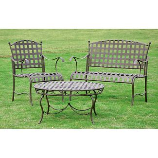Santa Fe Nailhead Iron Settee Group 3-Piece Set