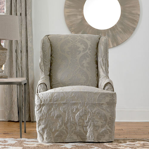Matelasse Damask Wing Chair Cover