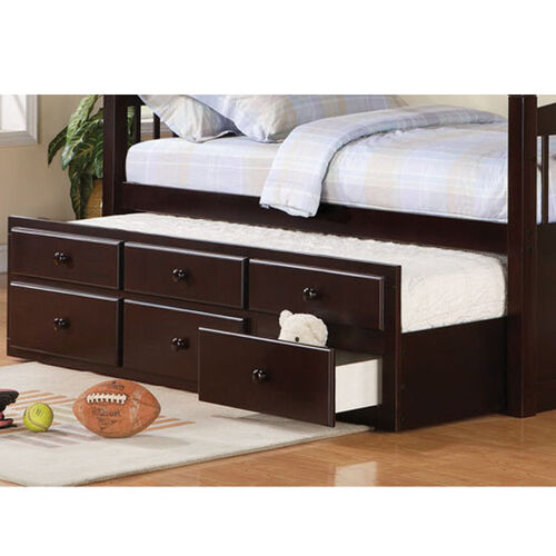 Logan Collection Twin Bunk Bed With Trundle Bed At