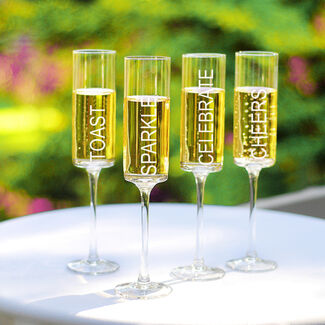 Celebrate! Contemporary Champagne Flutes Set of 4 by Cathy's Concepts