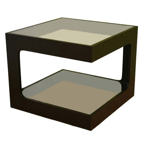 Baxton Studio Clara Wood and Glass Small Square End Table