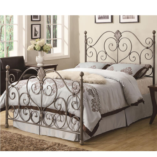 Metal Headboard and Footboard Bed with Ornate Swirl Details