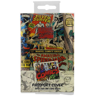 Marvel Comics Retro PVC Passport Holder with 2 Sim Card Slots and Retro Comic Strip Print Exterior