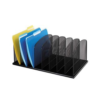 Onyx Mesh Desk Organizer 8 Wide Vertical Sections for File FoldersBinders