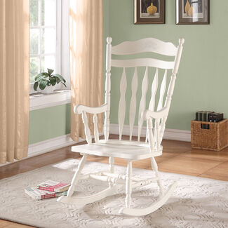Monarch Specialties Embossed Back Solid Wood Rocking Chair