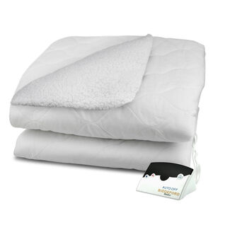 Reversible Sherpa Quilted Electric Heated Mattress Pad with a Digital Controller and 6 Heat Settings