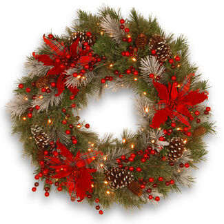 "Decorative Collection 24"" Tartan Plaid Wreath with LED Lights & Timer"