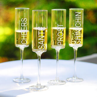 Cheers! Contemporary Champagne Flutes - Set of 4 by Cathy's Concepts