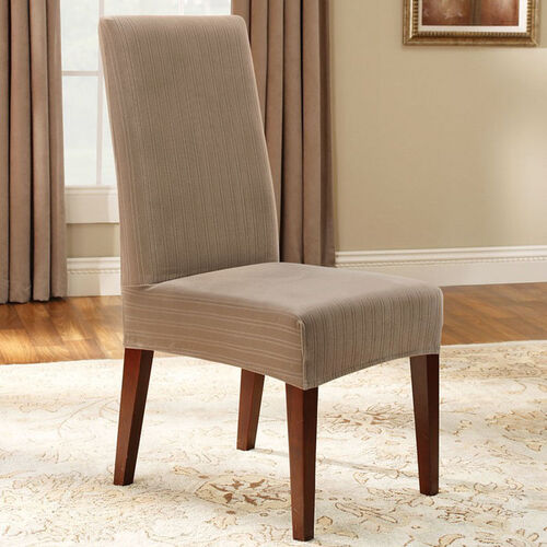 Fit stretch pinstripe short dining room chair slipcover 873399 html