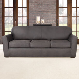 Ultimate Stretch Faux Leather 3 Separate Box Cushioned Sofa Slipcover