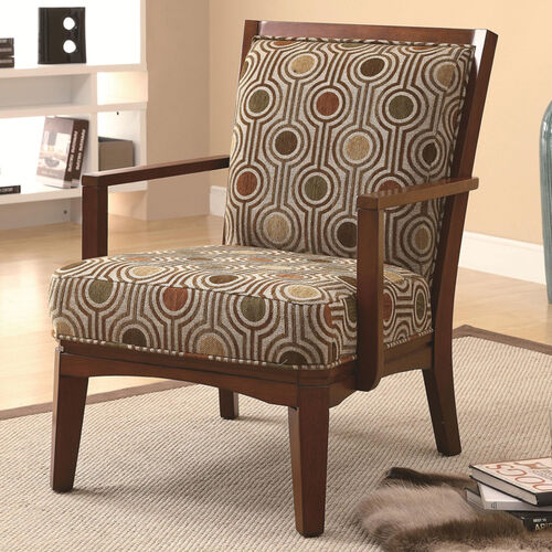 Contemporary Back-Support-Pillow Accent Chair w/ Wood Frame