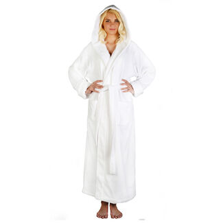 Women's Ankle Length Hooded Zero Twist and Soft Turkish Cotton Bathrobe with Sleeves