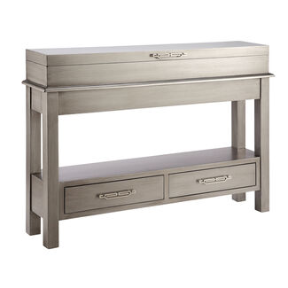 Messina Metallic-Finish 2-Drawer Console Table with Flip Top