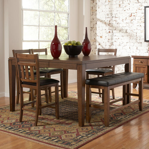 Home Creek 6-Piece Counter-Height Dining Table, Chairs & Bench Set