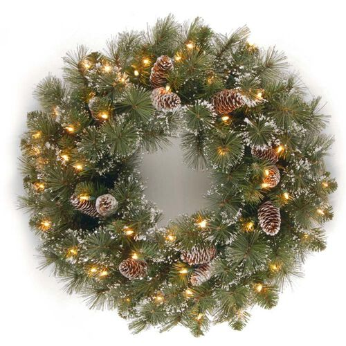 Pre-Lit Glittery Pine Christmas Wreath with Cones and Snowflakes