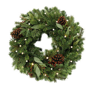 Cordless Pre-Lit Noble Fir Wreath