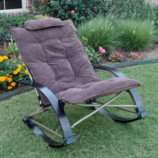 Folding Outdoor Rocking Chair with Extendable Footrest