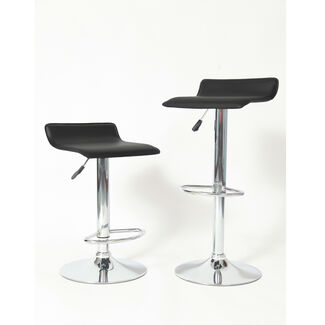 Cumar Chrome Air Lift Adjustable Swivel Stools with Sleek Metal Base and Faux Leather Seat - Set of 2
