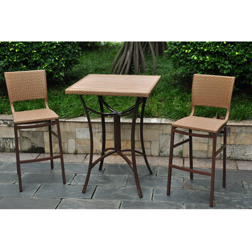 Barcelona Resin Wicker Bar Bistro Table & Chairs Set