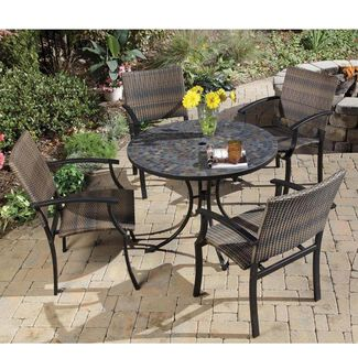 Stone Harbor Tile-Top Patio Table & 4 Newport Arm Chairs