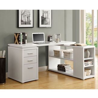 Hollow-Core Left Or Right Facing Corner Desk - White or Cappuccino