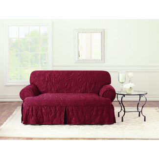 Sure Fit Matelasse Damask T-Cushion Love Seat Cover