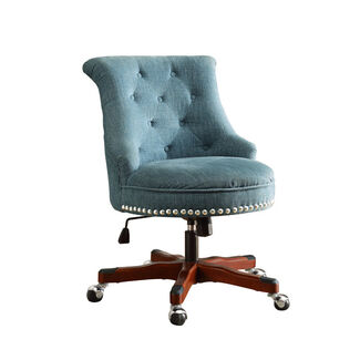 Sinclair Fabric Upholstered Nail Head-Accented Button-Tufted Office Chair with Wood Base and Metal Casters