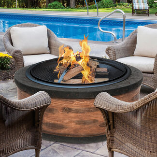 Sun Joe 35 In. Cast Stone Fire Pit w/ Dome Screen and Poker