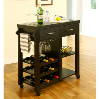 Mike Naudin Mobile Kitchen Bar Cart with Wheels
