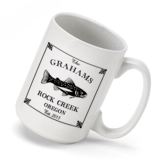 Personalized Cabin Series Trout Coffee Mug