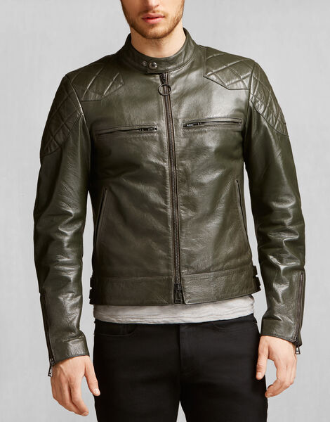 Racing Green Leather Jacket by Belstaff