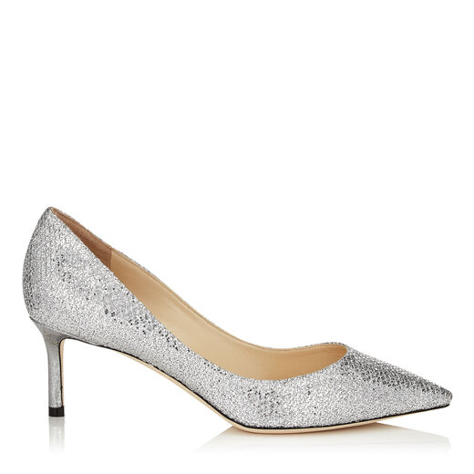 ROMY 60 SILVER GLITTER FABRIC POINTY TOE PUMPS