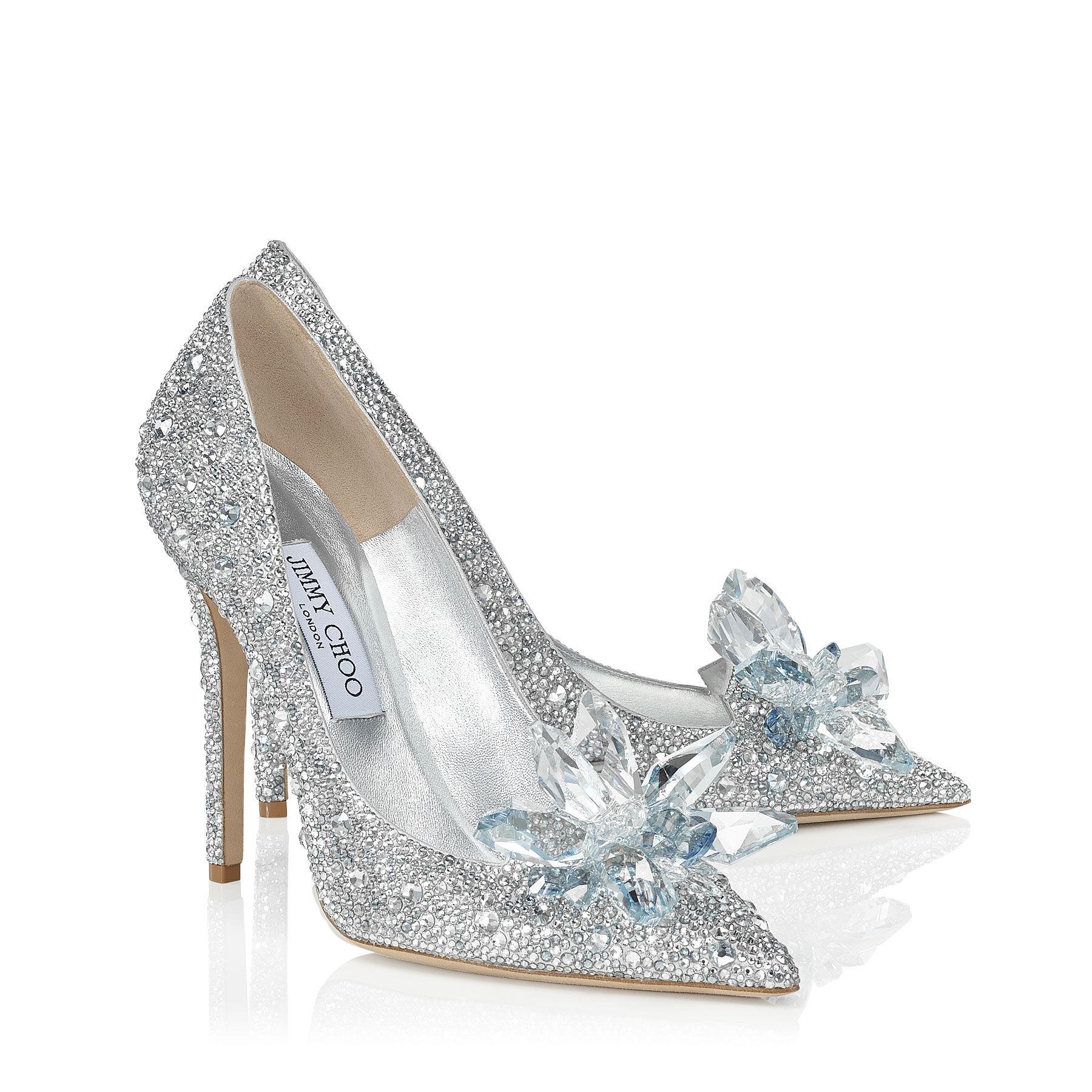 Silver Heels With Crystals