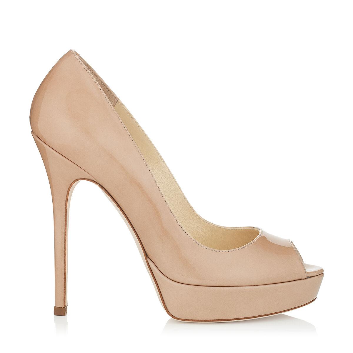 Patent Nude Peep Toe Heels
