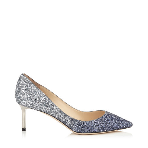 ROMY 100 Navy and Silver Coarse Glitter Degradé Pointy Toe Pumps